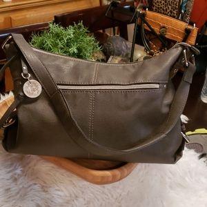 """Gray Relic Handbag 13"""" long, 9"""" tall"""